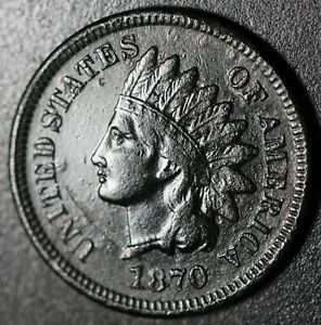 1870 INDIAN HEAD CENT   WITH LIBERTY   VF FINE