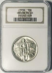 1938 OREGON TRAIL COMMEMORATIVE SILVER HALF DOLLAR   NGC MINT STATE 65