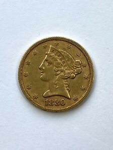 1880 $5 LIBERTY GOLD COIN.  UNCERTIFIED.