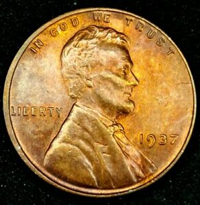 1937 P 1C LINCOLN WHEAT CENT UNC RED 20RR0229 70 CENTS SHIPPING