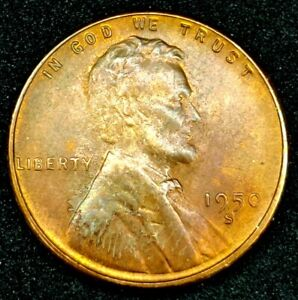 1950 S 1C LINCOLN WHEAT CENT UNC RED 20CT1025 70 CENTS SHIPPING