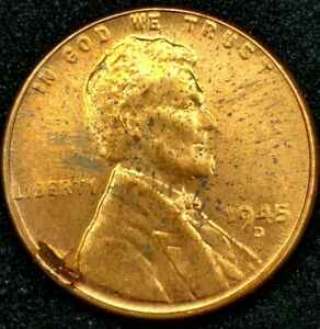 1945 D 1C LINCOLN WHEAT CENT BU RED 20LLT0204 70 CENTS SHIPPING