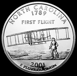 2001 S 25C STATE QUARTER NORTH CAROLINA GDC PROOF CN CLAD 70 CENTS SHIPPING
