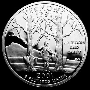 2001 S 25C STATE QUARTER VERMONT GDC PROOF CN CLAD 70 CENTS SHIPPING