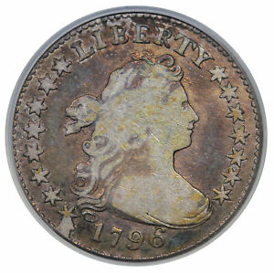 1796 DRAPED BUST DIME JR 1 PCGS F 12 CAC FIRST YEAR OF ISSUE