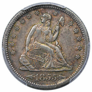 1855 S SEATED QUARTER ARROWS PCGS AU 50 TOUGH DATE