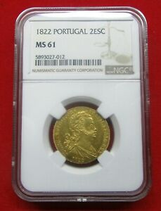 Click now to see the BUY IT NOW Price! PORTUGAL GOLD COIN 2 ESCUDOS   1/2 PEA  1822 GUARANTEED NGC    MS 61