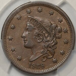 1838 CORONET HEAD LARGE CENT PCGS AU 50. ATTRACTIVE AFFORDABLE COPPER TYPE