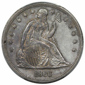1866 SEATED DOLLAR MOTTO PCGS AU 55 TOUGH DATE
