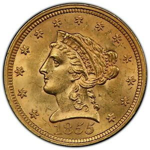 1855 LIBERTY HEAD QUARTER EAGLE PCGS MS 63 CAC GREAT EYE APPEAL