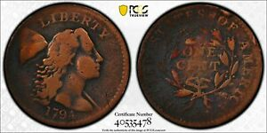 PCGS GENUINE 1794 HEAD OF 94 LIBERTY CAP LARGE CENT VG GOLD SHIELD SECURE DETAIL