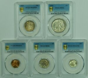 Click now to see the BUY IT NOW Price! 1919 P US MINT SET PCGS MS66 SECURE HOLDER SET HALF QUARTER DIME NICKEL CENT WOW