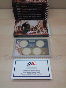 2007 PRESIDENTIAL DOLLAR PROOF SET / BOX LENS & CERTIFICATE. NO COINS.