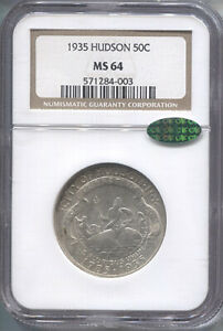 1935 HUDSON SILVER COMMEMORATIVE HALF DOLLAR   NGC MS 64 CAC   MINT STATE 64 CAC