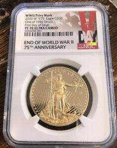 Click now to see the BUY IT NOW Price! 2020 END OF WW II 75TH ANNIVERSARY GOLD EAGLE V75 NGC PF70 FIRST DAY OF ISSUE