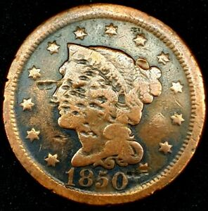 1850 P 1C BRAIDED HAIR LARGE CENT 20CCU0902 $1 SHIPPING