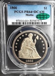 1866 $1 SEATED LIBERTY PROOF DCAM DOLLAR PCGS & CAC PR64 DCAM   100  GORGEOUS