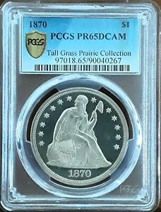 1870 $1 PCGS PR 65DCAM  SEATED LIBERTY PROOF DOLLAR .GORGEOUS   ONLY 2 HIGHER