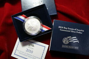 2010 BOY  SCOUTS OF THE USA CENTENNIAL UNC. COMMEMORATIVE SILVER DOLLAR & COA