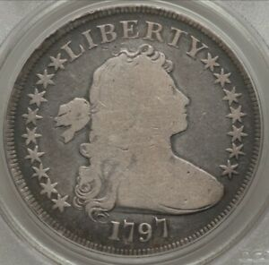 1797 DRAPED BUST SMALL EAGLE DOLLAR 9X7 SMALL LETTERS B 2 BB 72 R4 PCGS G4 OGH