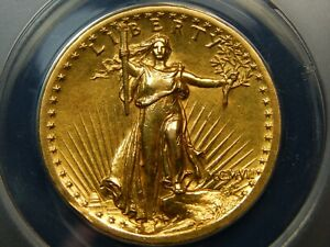 1907 $20 HIGH RELIEF GOLD SAINT GAUDENS DOUBLE EAGLE AU 50 ANACS LOOKS HIGHER