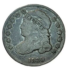 1830 CAPPED BUST SILVER DIME VG/F