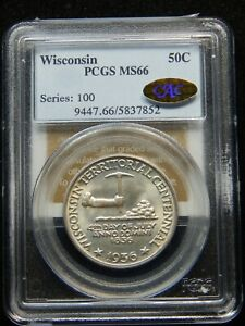 Click now to see the BUY IT NOW Price! 1936 50C WISCONSIN SILVER COMMEMORATIVE HALF DOLLAR MS 66 PCGS/ GOLD CAC  WOW