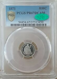 Click now to see the BUY IT NOW Price! 1871 H10C SEATED LIBERTY DCAM PCGS PR 67DCAM CAC  FINEST DCAM AT PCGS AND CAC.