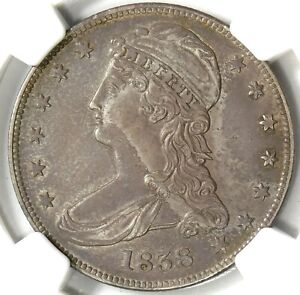 NGC AU53 1838 REEDED EDGE BUST HALF DOLLAR