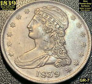 1839 REEDED EDGE SILVER HALF DOLLAR  GR 7    AU   NICE