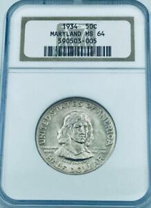 1934 MARYLAND COMMEMORATIVE SILVER HALF DOLLAR   NGC MINT STATE 64  MS 64
