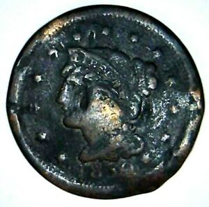 1850 P 1C BRAIDED HAIR LARGE CENT 21OAT0113 $1 SHIPPING