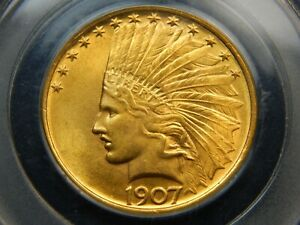 1907 $10 GOLD INDIAN EAGLE NO MOTTO MS 65 PCGS REALLY NICE  GREAT COLOR