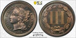 1871 3CN PROOF THREE CENT NICKEL PR 65 PCGS ATTRACTIVE COIN