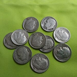 GROUP OF TEN 1950'S ROOSEVELT SILVER DIMES