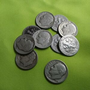 GROUP OF TEN 1940'S ROOSEVELT SILVER DIMES