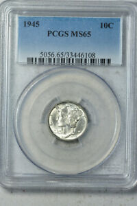 1945 10C MERCURY DIME PCGS MS65