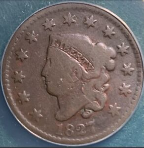 1827 LARGE CENT ANACS G6
