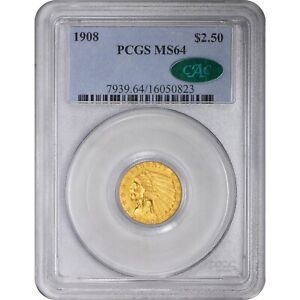 Click now to see the BUY IT NOW Price! 1908 $2.5 MS64 PCGS CAC INDIAN HEAD QUARTER EAGLE