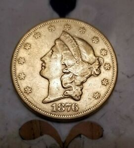 1876 S $20 LIBERTY HEAD GOLD DOUBLE EAGLE   TYPE 2 EARLY US GOLD COIN