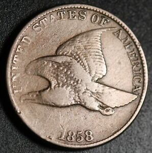 1858 FLYING EAGLE CENT   LARGE LETTERS LL   NEAR VF FINE