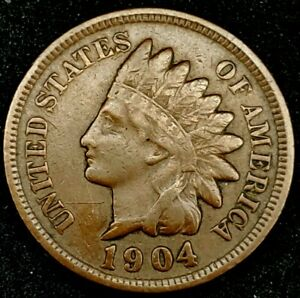 1904 P 1C INDIAN HEAD CENT AU 20OTH1023 70 CENTS SHIPPING