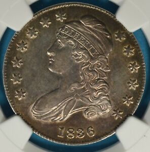 1836 LETTERED CAPPED BUST HALF DOLLAR NGC AU58  EXCEPTIONAL TONE EYE APPEAL