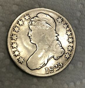 1825 CAPPED BUST HALF DOLLAR 50C HIGH GRADE FINE DATE VISIBLE 90  SILVER US COIN