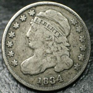 1834 CAPPED BUST DIME 10C SILVER   VF FINE   ORIGINAL COIN   NO PROBLEMS