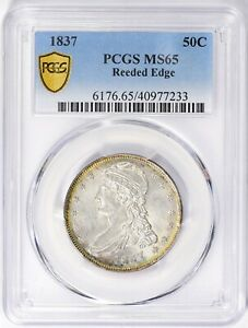 Click now to see the BUY IT NOW Price! 1837 UNC CAPPED BUST HALF DOLLAR REEDED EDGE PCGS MS65 50C UNCIRCULATED US COIN