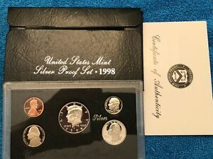 1998 SILVER PROOF SET AND COA REPLACEMENT BOX NO COINS GREAT BOX TOP QUALITY