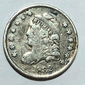 1832 CAPPED BUST SILVER U.S HALF DIME. VG F SOME SCRATCHES. Q1