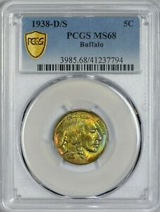 Click now to see the BUY IT NOW Price! 1938 D/S BUFFALO NICKEL PCGS MS68   CAC APPROVED   TOP POP   PCGS PLATE COIN