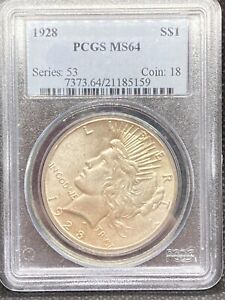1928 SILVER PEACE DOLLAR PCGS MS 64 KEY DATE LOOKS MS 65 STRONG STRIKE CLEAN